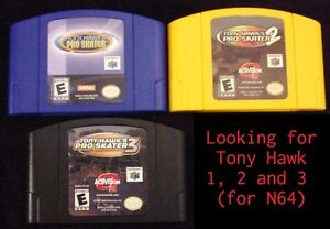 Looking for Tony Hawk's Pro Skater 1, 2 and 3 for N64