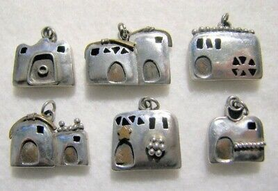 """1980'S EGYPTIAN Artisan AZZA FAHMY """"Houses of the Nile"""" Charms (925, Set of 6)"""