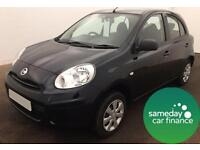 ONLY £118.12 PER MONTH BLACK 2012 NISSAN MICRA 1.2 VISIA 5 DOOR PETROL MANUAL