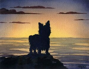 YORKSHIRE-TERRIER-Dog-Watercolor-Sunset-8-x-10-Art-Print-Signed-by-Artist-DJR