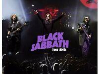 BLACK SABBATH at London O2, 29.01.17, seated tickets x4