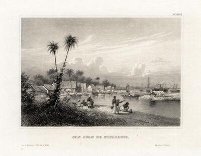 Antique Print-SAN JUAN-NICARAGUA-CENTRAL AMERICA-BOAT-Meyer-1850