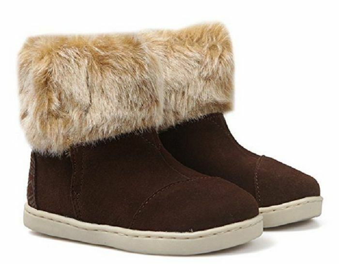 Toms Infant  Girls' Nepal Boots Chestnut Suede with Faux Fur , Infant US 3