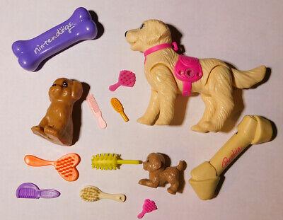 Barbie Dog Lot - Dogs Dog Bones Brushes - Mixed Brand Lot - New Used Vintage