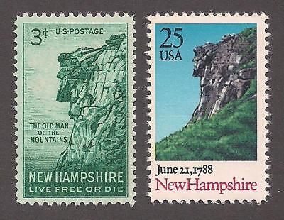 NEW HAMPSHIRE - THE OLD MAN OF THE MOUNTAIN - 2 U.S. STAMPS - MINT (Shape Of The Usa)