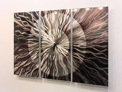 Abstract Modern Metal Wall Clock Art Sculpture Home Decor - Obsidian Burst