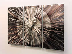Abstract Modern Metal Large Wall Clock Art Sculpture Home Decor - Obsidian Burst