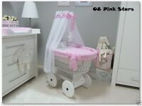 Pink Moses basket and drape excellent condition