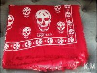 Authentic Alexander McQueen Red Pashmina Skull Scarf