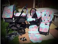 Customised Bugaboo camilion full set and adapters pram pushchair and car seat girls