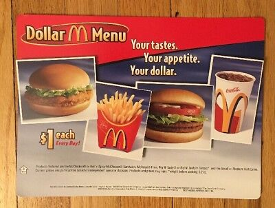 Mcdonalds Dollar Menu 2002 Register Topper  Mint