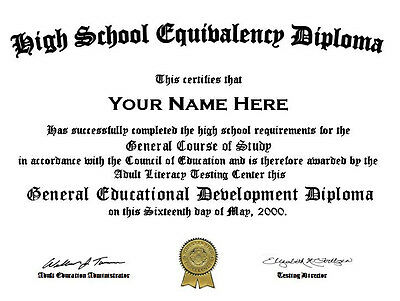 Official Looking Personalized High School GED Diploma with Gold Seal (Fake)