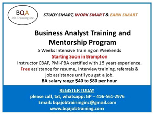LEARN BUSINESS ANALYST COURSE STARTING SOON IN BRAMPTON