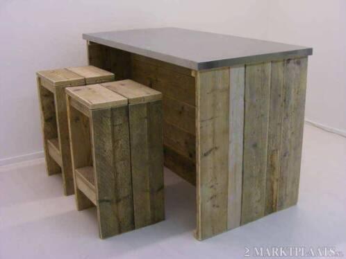 Steigerhout Bar Keuken : ≥ bartafel keuken eiland steigerhout met rvs blad bar tafel