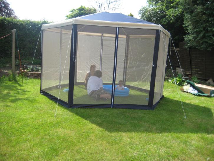 4m Argos Hexagonal Garden Gazebo With Fly Mesh Panels SIX Weights