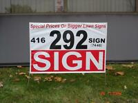 lown signs for $2.35 in quantity of 150 or more, wire included.