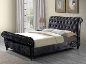 Brand new king size Chesterfield sleigh bed black diamonte headboard