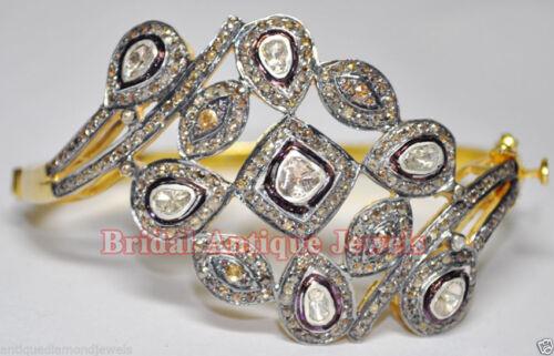 5.70ct Polki Rose Cut Diamond Antique Victorian Look 925 Silver Bracelet
