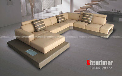 4PC Modern Euro style leather sectional sofa set -