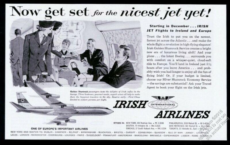 1960 Aer Lingus 1st class stewardess Irish International Airlines print ad