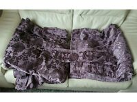Pair of Paoletti Hanover Chenille Jacquard Lined Pencil Pleat Curtains