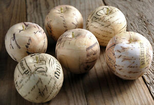 UNIQUE-S-12-French-Script-Paper-Wrapped-Apples-HOME-DECOR-VASE-FILLERS-Filler