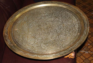 Vintage decotative Brass Moroccan serving tray and stand