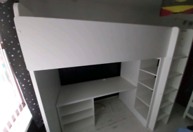 IKEA STUVA HIGH SLEEPER BED WITH SHELVING, DESK & CONSOLE UNIT