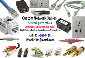 Custom Network Patch Cables & Connectors RJ45 RJ11 RJ12 Coaxial.