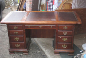 8-dr Solid Wood Desk, top needs refinishing, delivery $$ (read)