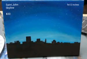 Saint John Skyline at night original painting