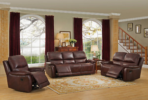 Top grain leather recliner 3 piece set, Amax Leather, in stock