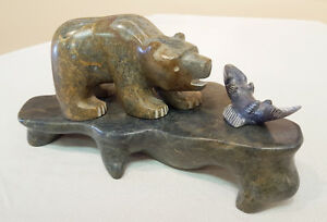 Bear With Fish - Aboriginal carving For Sale