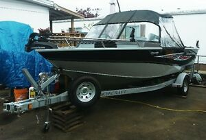 17.2 ft alum boat for sale less than 10 hrs on merc 90 hp motor