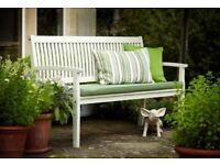2 SEATER SOLID WOOD WHITE BENCH & CUSHION (BRAND NEW)