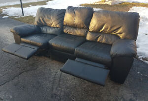 Black Genuine Leather Reclining Couch.  (Excellent Condition)