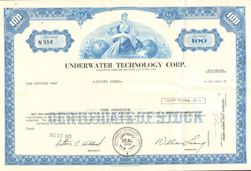 Underwater Technology Corp > 1972 New York share stock certificate