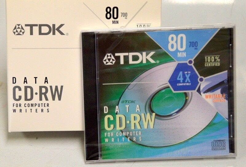 TDK CD-RW 80min, 700MB, Writable Surface - For Computer Writers. 5 pack