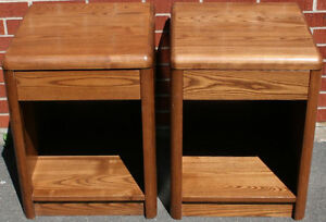 Pair Of Matching Solid Wood Night Stands / End Tables