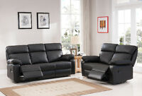 NEW Bonded Leather Reclining Sofa Set! FREE Delivery!