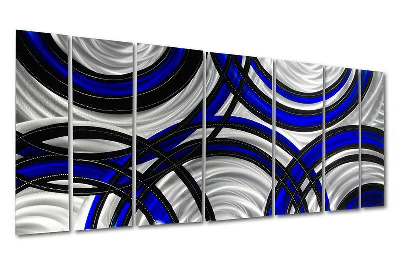 Statements2000 3D Metal Wall Art Panels Modern Silver Black Blue by Jon Allen