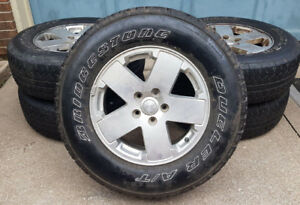 5 Jeep Wrangler tires and rims with sensors