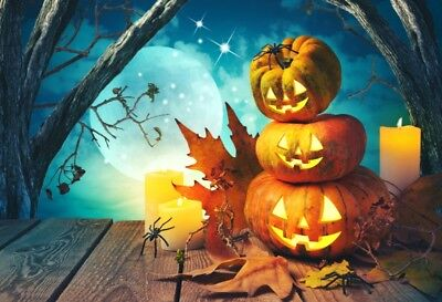 Halloween Funny Pumpkin Backdrop Photography Props Photo Vinyl Background 5X3FT