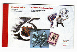 1992 CANADA LIGHTNING ON ICE STAMP BOOKLET COMPLETE 75 Years NHL