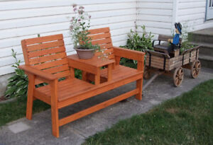 Rustic Double Park Bench w/Table in between (NEW)