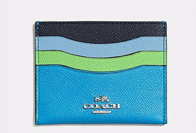 COACH RAINBOW COLOR BLOCK FLAT CROSSGRAIN LEATHER CARD CASE