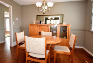 Teak Dining Set with Leaf, 6 Chairs and Hutch