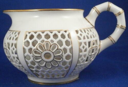 Antique 19thC Sevres Porcelain Honeycomb Reticulated Creamer Milk Pot Porzellan