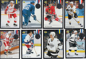 HOCKEY CARTES UPPER DECK 92-93 EURO-STARS INSERTS