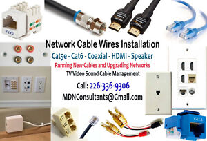 Networking Cables Installation Data - Cat6 Coax HDMI Sound.... .